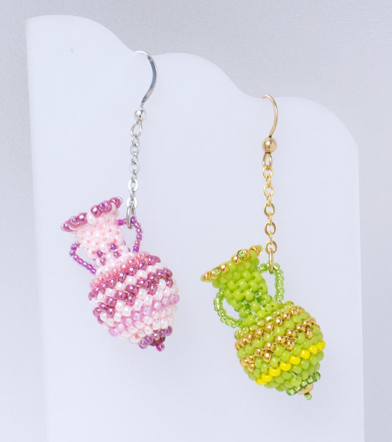 Pink and Yellog Green Beaded Bottle Earrings
