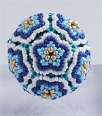 Beaded Flower Balls - 1 : Blue & Gold