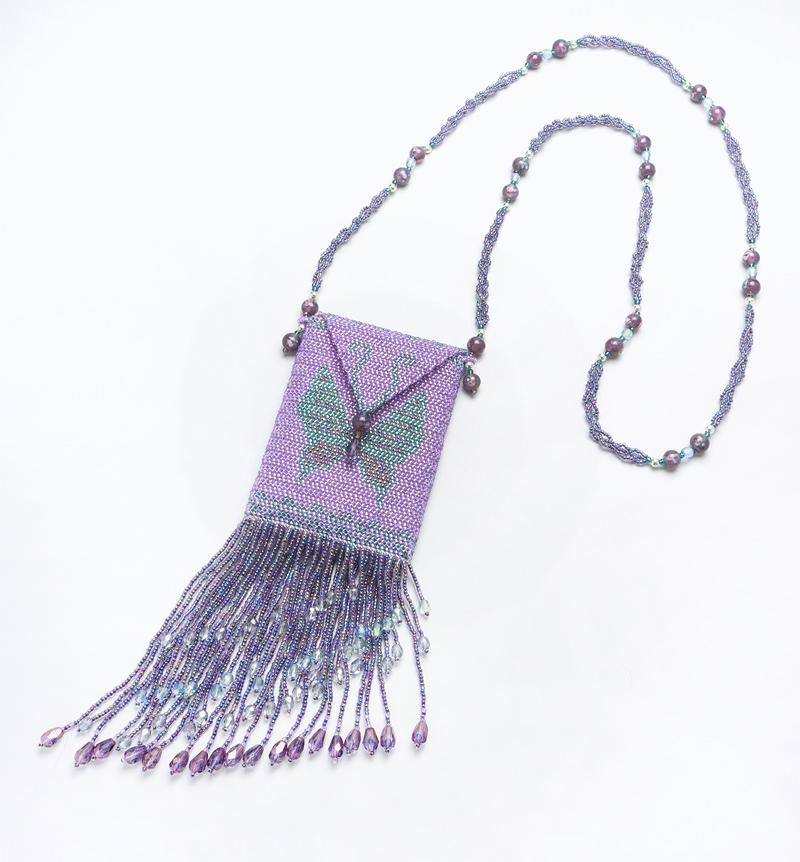 Butterfly amulet bag (purple)