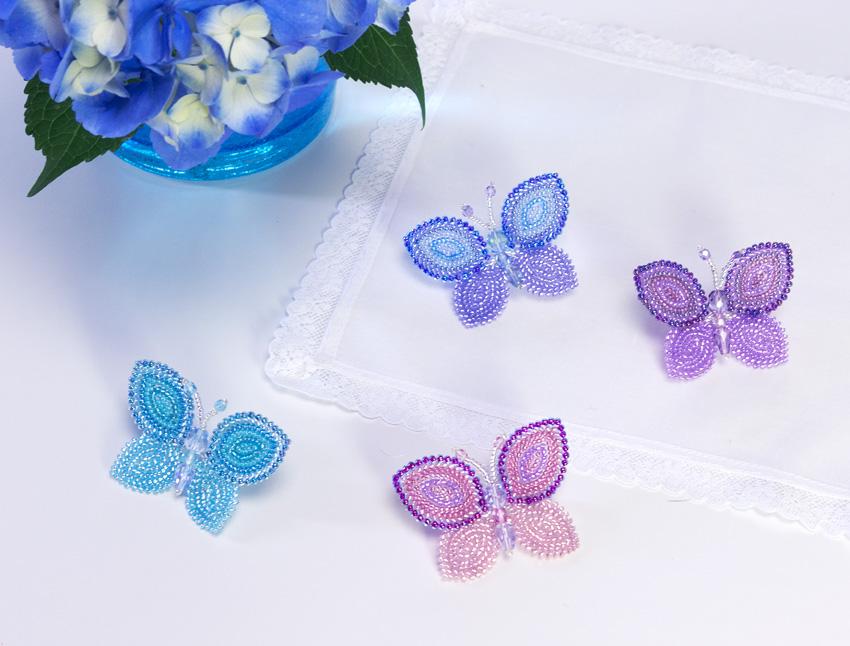蝶のブローチ・4色