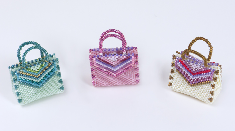 Green, Pink. and Ivory of Gusset Bags with Striped Embellishment