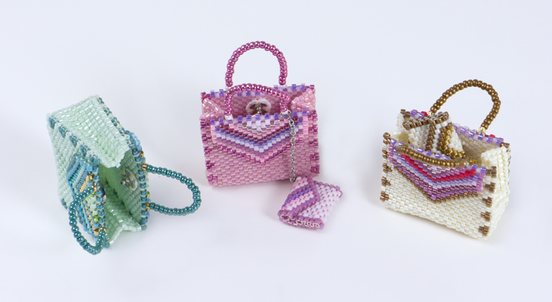 Pink and Green of Gusset Bag with Striped Embellishment