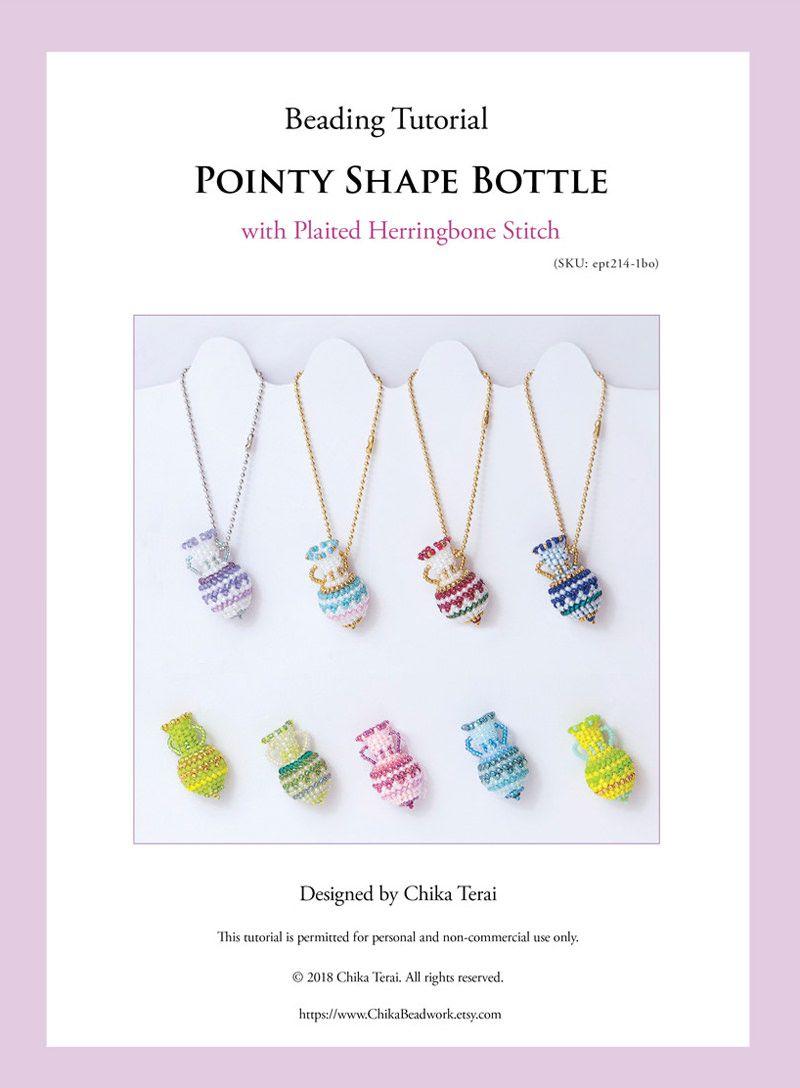 PDF Beading Tutorial of Zigzag Pattern Bottle with plaited herringbone stitch, ept214-1