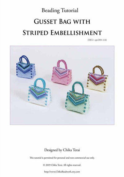 PDF beading tutorial for Gusset Bag with Striped Embellishment, ept280-1