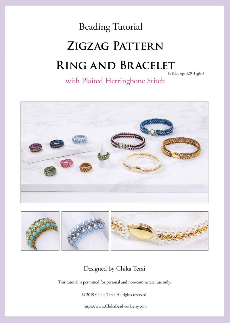 PDF Beading pattern, Zigzag Pattern Ring and Bracelet with plaited herringbone stitch, ept329-1rgbt