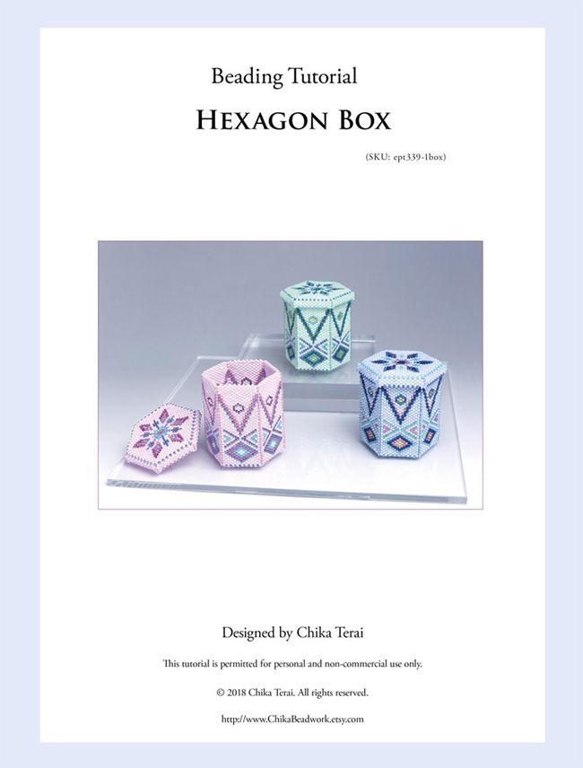 PDF Beading pattern, beaded hexagon box, ept339-1