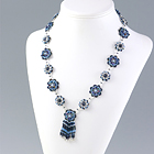 Flower Pattern Necklace: Blue Iris