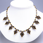 Black & Gold Square Beaded Necklace