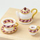 Miniature Stripe Tea Set: Teacup, Saucer, Teapot, and Cream Pitcher