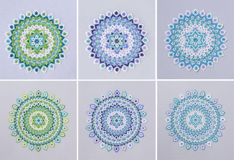 ドロップ模様のドイリー・大小それぞれ3色