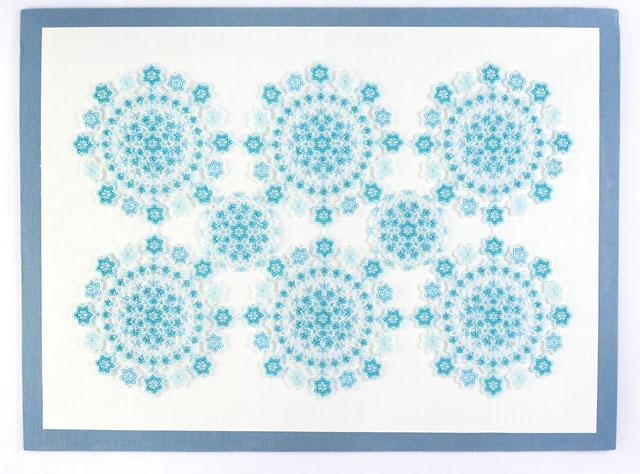 小花モチーフの長方形のビーズのドイリー・アクアの全体写真
