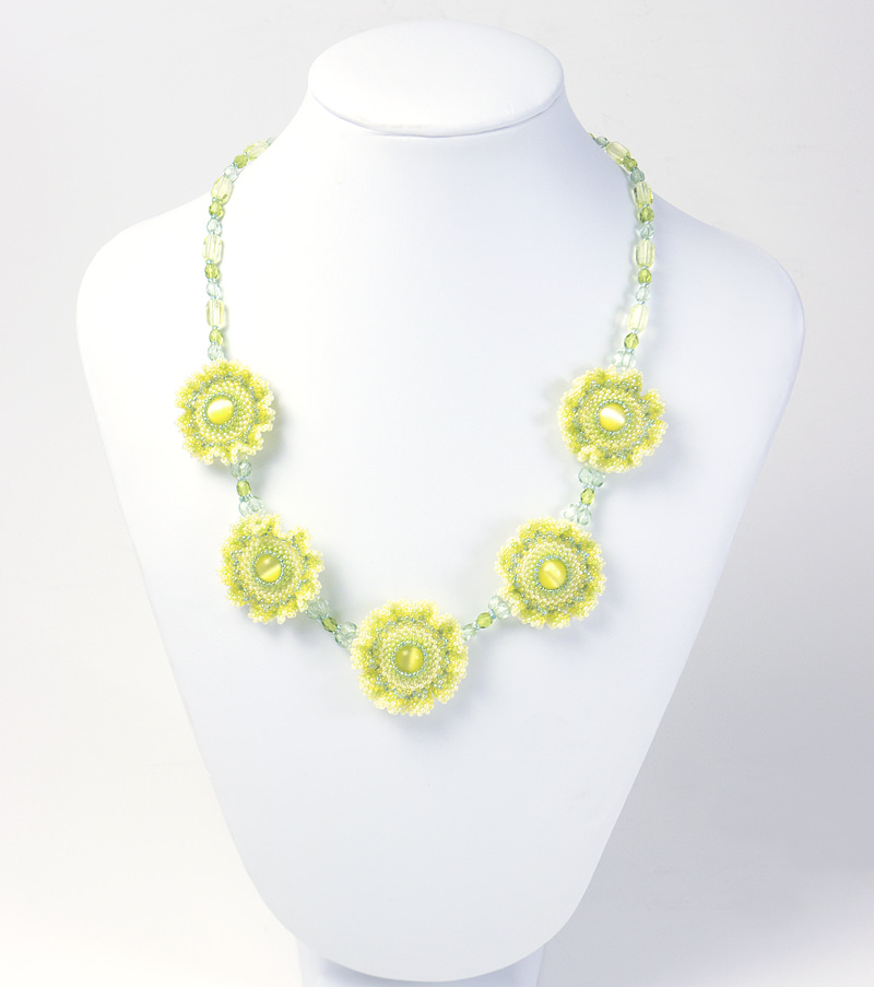 Frilly Flowers Necklace: Yellow