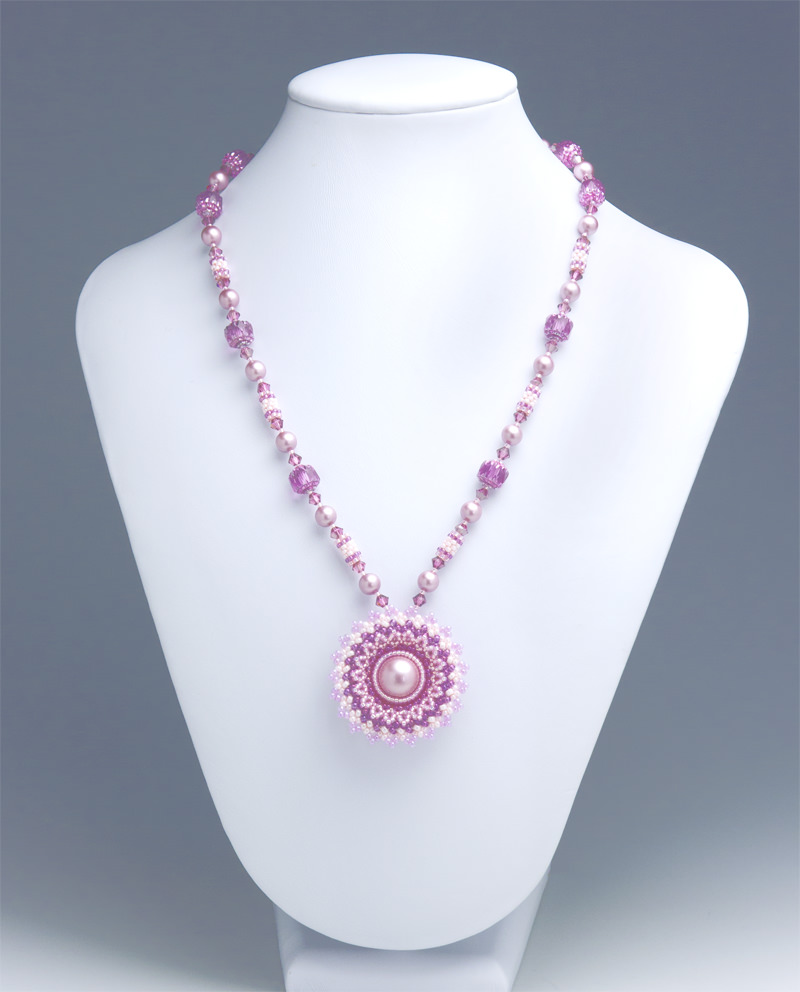 Circular Flowery Pendant Necklace: front side