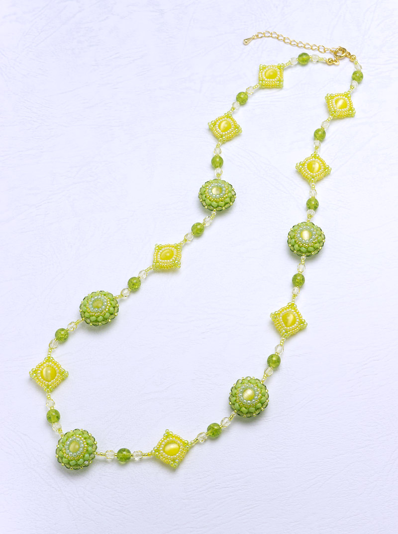 Puffy Circle and Square Necklace: yellow green