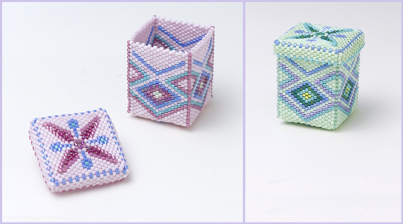 Small Square Beaded Boxes
