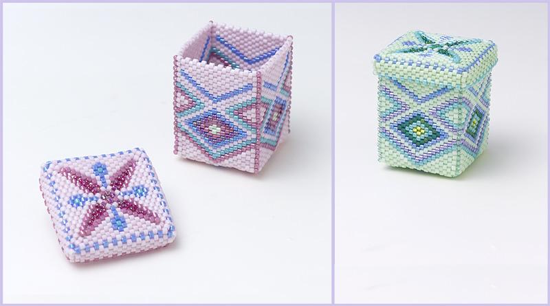 ビーズで出来た、四角形の小さな箱