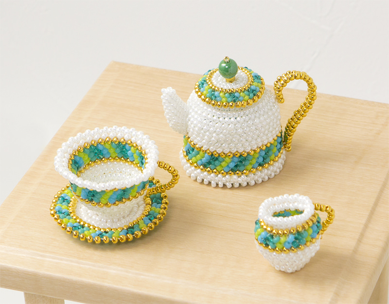 Miniature Green Stripe Tea Set