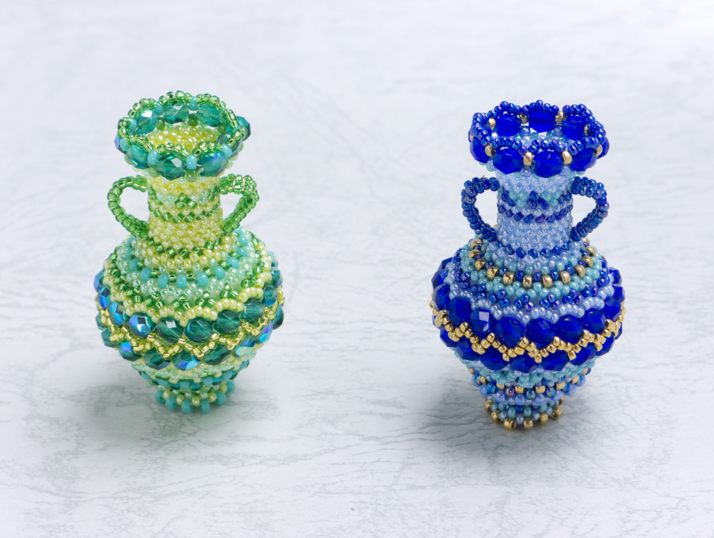 Decorative Vase With A Zigzag Pattern Sweet Pea Beadwork