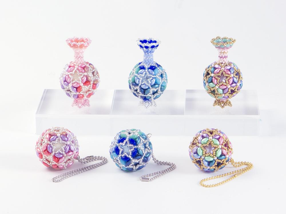 スターフラワーの壷とボール・ピンク・ブルー・パステルカラー