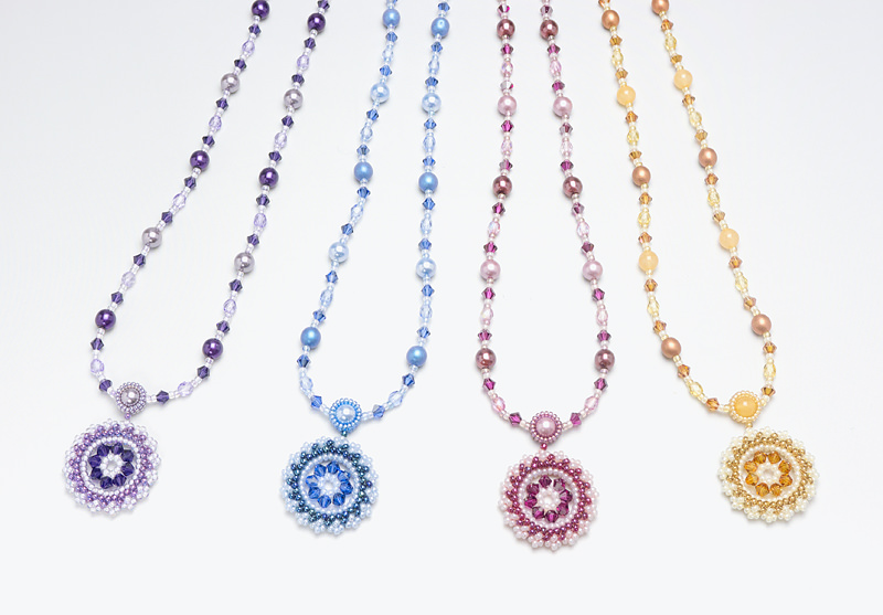 necklace: purple, blue, rose, light brown