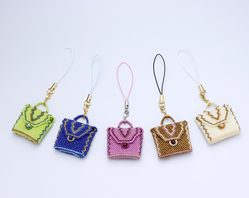 little outing bag pendants: green, blue, rose,  brown, and ivory