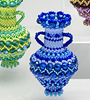 Decorative vase with a zigzag pattern