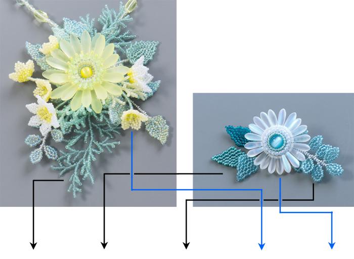 ビーズで作る花のコサージュの例・イエローとホワイト
