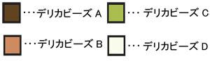 ブリックステッチのネックレスの作り方の記号説明