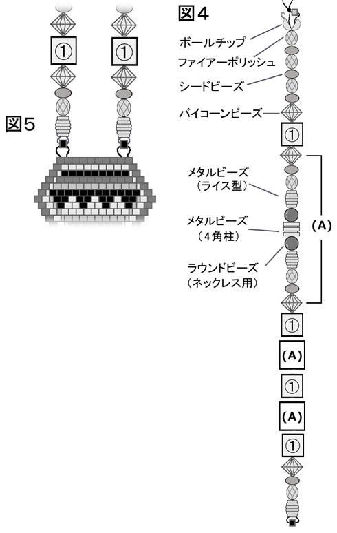 ブリックステッチのネックレスのペンダント取り付け部分とネックレス組み立て図:図4と図5